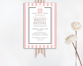 INSTANT DOWNLOAD ballet recital invitation / pink stripe ballet recital / little girls ballet recital / ballet recital invite