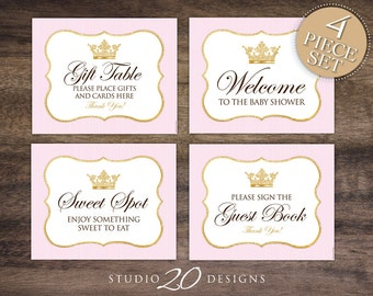 Instant Download Princess Baby Shower Signs, 8x10 Gift Table, Pink Gold  Glitter Welcome Sign