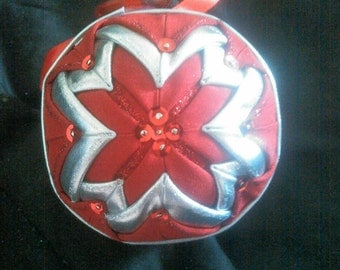 Beautiful Red And Silver Quilted Ornament.
