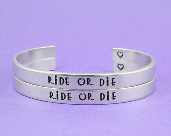 Friendship motto etsy for Ride or die jewelry