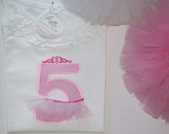 Girl's Fifth Birthday Shirt, 5 Year Old Birthday Top, Appliqued Shirt, Personalized Shirt