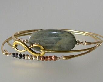 Jasper Silver Mist, Pyrite, and Infinity Gold Bangle Bracelet Set of 3, Boho Chic, Gemstone Bracelet, Bohemian Bracelet (S272G)