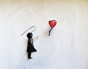 Banksy girl with heart balloon handmade sterling silver earrings,unique gift for her