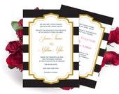 Wedding Invitation Template - Black & White Striped and Gold Frame Printable Wedding Invitation Editable PDF Templates - DIY You Print