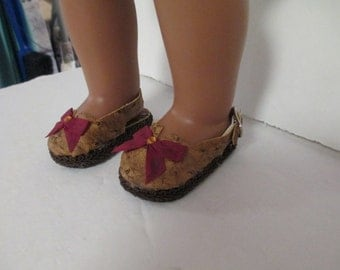 Tan and Brown -Burgundy Silk Bow- 18 inch Doll  Slip On Sling back Sandal Loafers-shown on my american girl doll