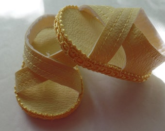 """light Yellow 18"""" Doll Sandals-Shown on my american girl doll"""