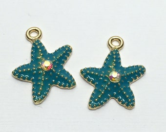 2 blue starfish enamel and gold tone 20mm #CH 318