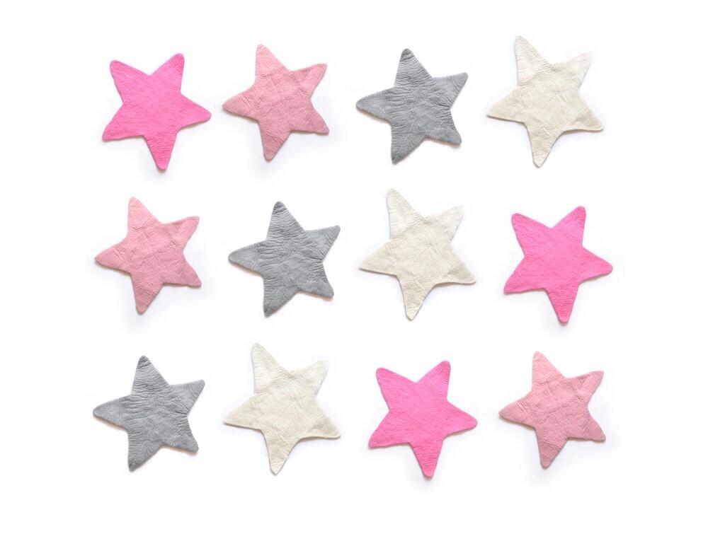 Star felt rug grey pink soft white kids