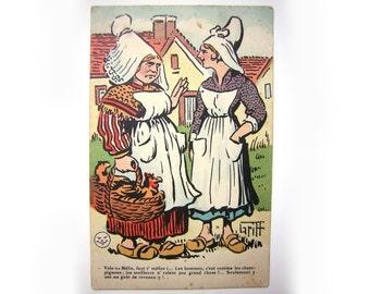 Humorous  antique postcard (1930)- Subject : the men - unused.