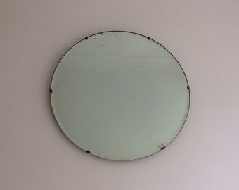 Vintage wall mirror bevelled edge round Art Deco 1930s Thirties large looking glass bevelled edge [ref 0700]