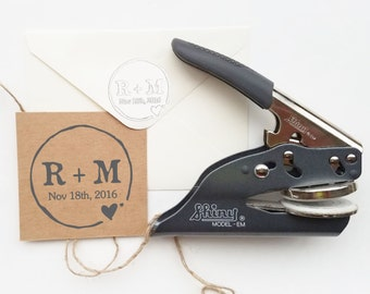 Custom Embosser Stamp- Rustic Wedding Embosser- Monogram Embosser- Initials Embosser- Envelope Embosser- Wedding Seal Stamp- CS-10088