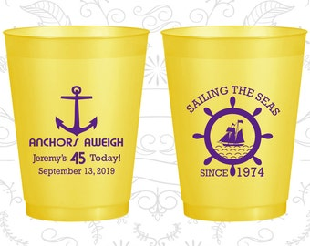 45th Birthday Frosted Cups, Anchors Aweigh, Nautical Birthday, Anchor Birthday, Frosted Birthday Cups (20023)