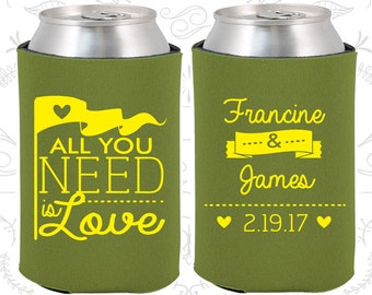 All you Need is Love, Wedding Favors, Love Wedding Favors, Romantic Wedding Favors, Romantic Favors, Hearts, Beer Sleeve (410)