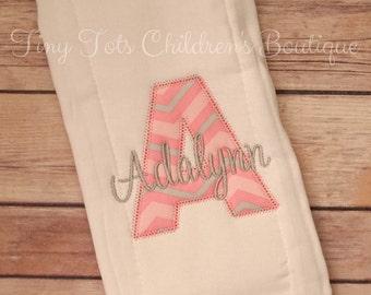 Personalized Baby Girl Burp Cloth - Monogram Burp Cloth - Newborn Embroidered Burp Cloth - Baby Girl - Newborn - Baby Shower Gift