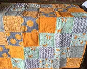 Orange Chevron Fox Quilt for Baby or Toddler