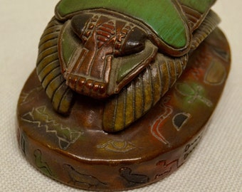Antique Decor Ancient Egyptian Style Scarab Beetle w. Hieroglyphic Engravings