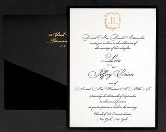 Letterpress Wedding Invitation Suit Of 100