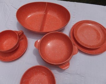 "Coral Speckled ""Melmac/Melamine"" Plastic Dinnerware - Service for Two:  vintage tableware"
