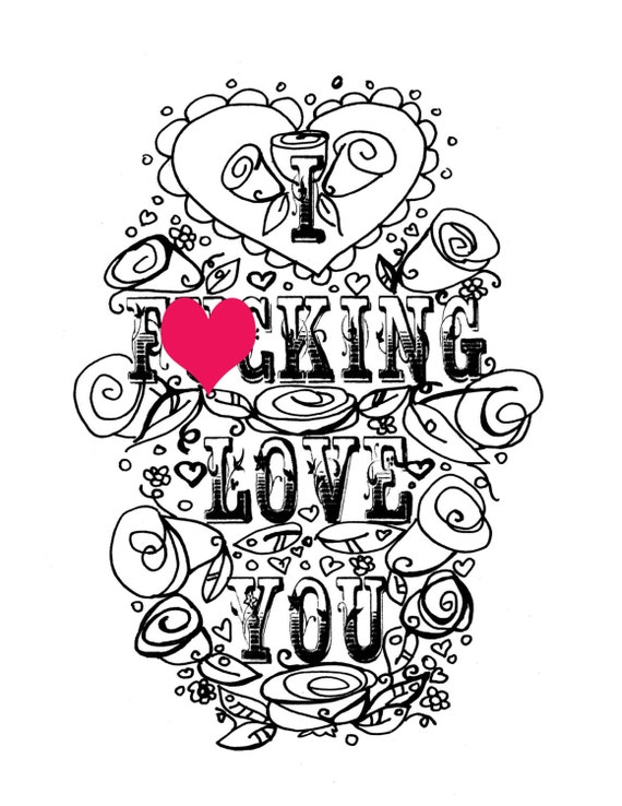 Adult Coloring Page Valentines Day Curse Swear Sheet I Fcking Love You Anniversary Funny Diy Sweary Printable