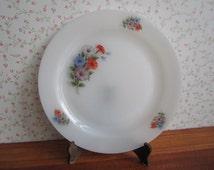 Arcopal France Petunia Milkglass Serving Plate Platter Tray Dish Blue Red Purple Petunias Flowers White Kitchenware Mid Century Modern 1970s
