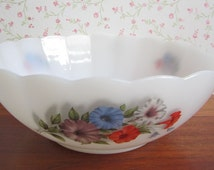 Arcopal France Petunia Milkglass Serving Dish Salad Fruit Bowl Blue Red Purple Flowers White Kitchenware Mid Century Modern French Pyrex 70s