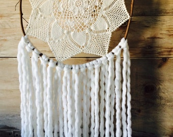 White Whimsical Twig Dream Catcher
