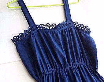 70s Indigo Sundress - Camisole Midi Navy Blue Lace Summer Dress