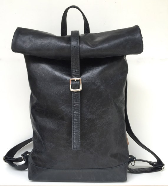 "Leather backpack , rolling backpack , backpack leather , black leather backpack""BLACK BEAUTY"""