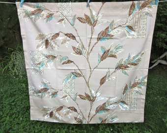 """fabric / 1950's barkcloth curtain/ branches and leaves / 42"""" x 43"""""""