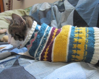 PDF Knitting Pattern Faire Isle Cat Sweater