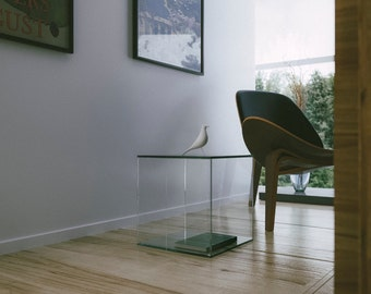 Glass Side Table. Contemporary/Modern Home Decor. All Glass Table Perfect  As A