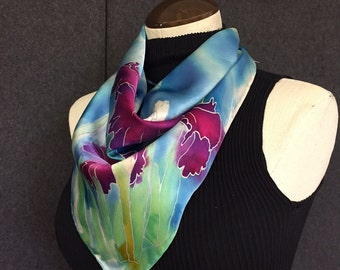 Iris - Hand Painted Silk Scarf