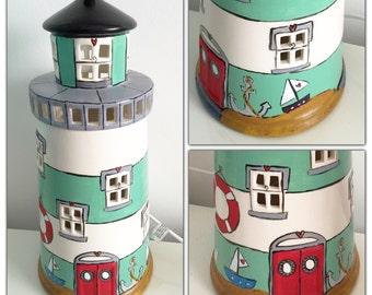 Quirky Lighthouse ceramic lamp