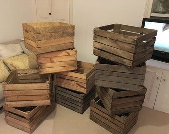 1 x Vintage Rustic European Wooden Apple Crates, ideal storage boxes box display crate bookshelf idea
