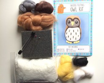 Barn Owl kit make your own needle felted bird