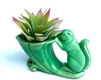 Vintage Green Ceramic Squirrel Planter, Mid-Century Ceramic Planter