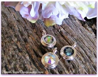 Swarovski crystal bezel charm to add to your jewelry design