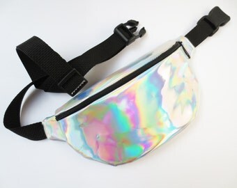Silver Hologram Fanny Pack with Black Belt