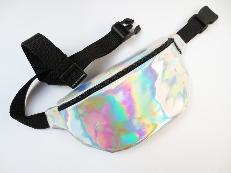 Silver Hologram Fanny Pack With Black Belt