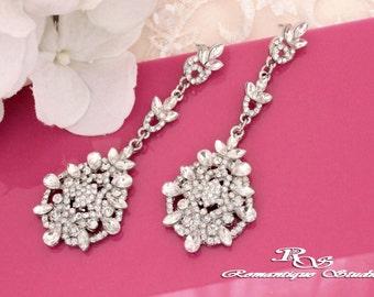 Long crystal earrings vintage style Wedding jewelry Rhinestone chandelier earrings crystal bridal jewelry wedding accessories 1353