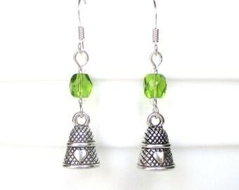 Thimble earrings - Custom birthstone earrings - Sewing gift - Birthday gift idea - Thimble jewelry - August birthstone - Etsy UK
