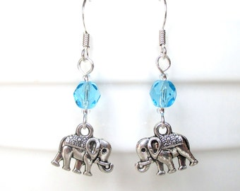 Custom birthstone earrings - Elephant earrings - Personalised birthday gift - Birthstone jewelry - Upgrade to Sterling silver - UK