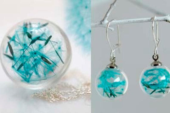 Set turquoise blue dandelion earrings and necklace sterling silver 925: seeds make a wish