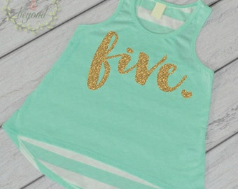 Fifth Birthday Shirt Girl Five Year Old Birthday Shirt 5 Birthday Shirt Girl 5th Birthday Outfit Girl Green Tank Top 102