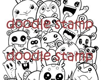 Welcome  Doodle Digital Stamp