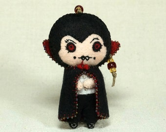 Dracula Vampire Doll, Wool Felt Halloween Ornament, Goth Art Doll *Ready to Ship