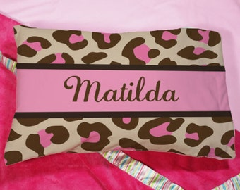 Personalized Personaized Pink Leopard Print Pillow