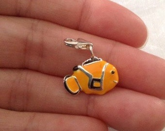 Fish nemo charm silver plated charm pendant