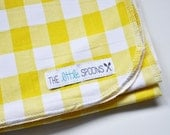 Swaddle Blanket, Yellow and white gingham, Cotton Knit swaddle blanket by The Little Spoons