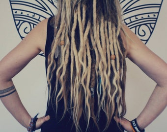 40 Human hair Dreadlocks extensions with loose ends (14''+loose end)